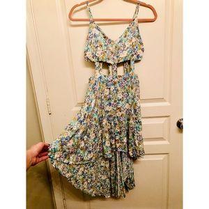 Spaghetti Thin Strap Cut-Out High-low Floral Dress